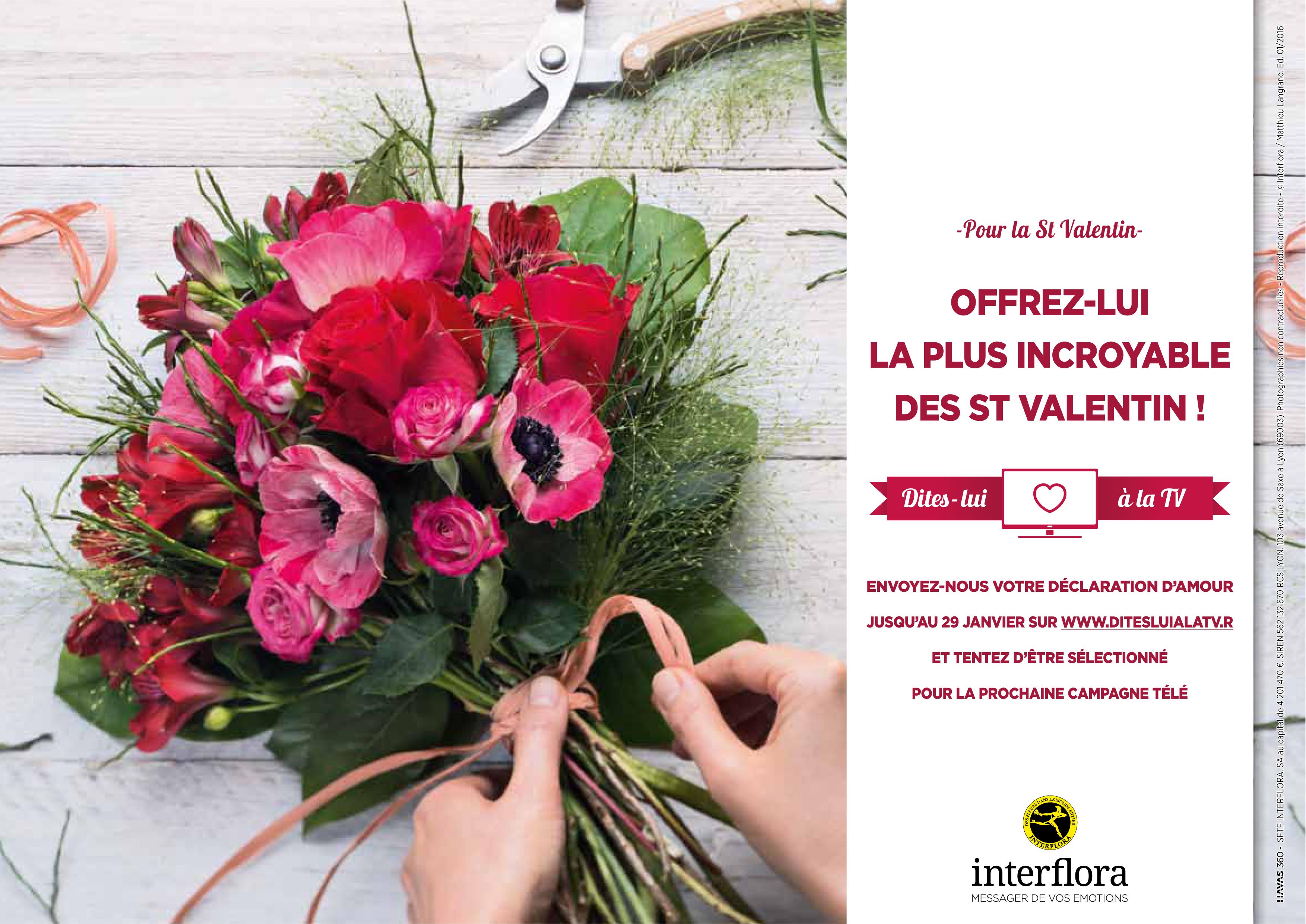 Pour la Saint,Valentin, Interflora invite les internautes dans sa nouvelle publicité !