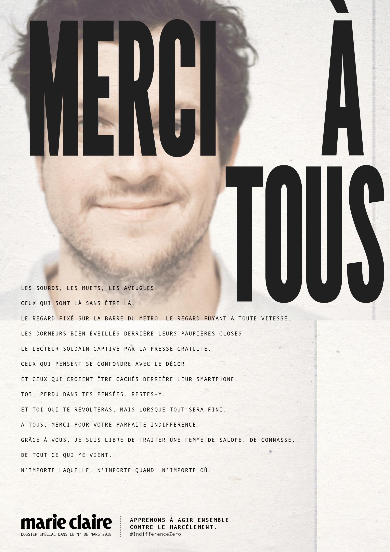 Affichage et presse Merci à tous Marie Claire agence