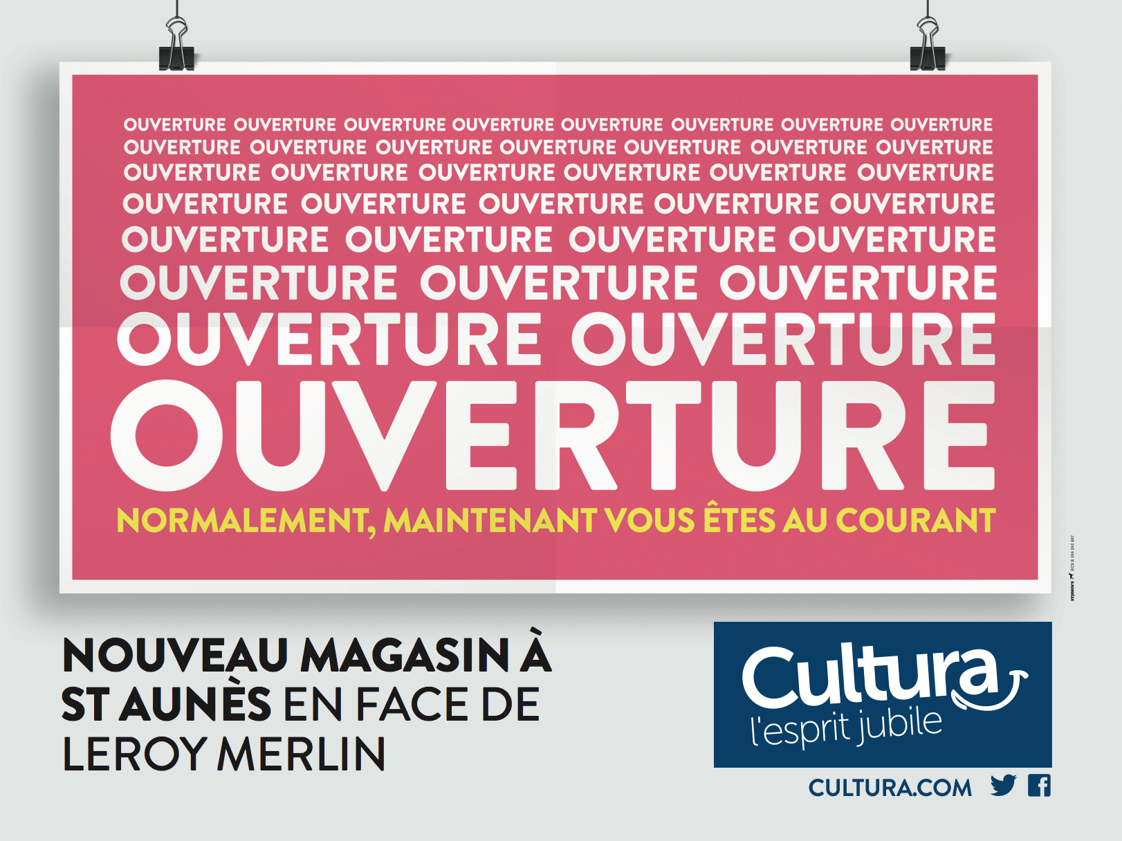 cultura ouverture magasin affichage cultura agence st john 39 s. Black Bedroom Furniture Sets. Home Design Ideas