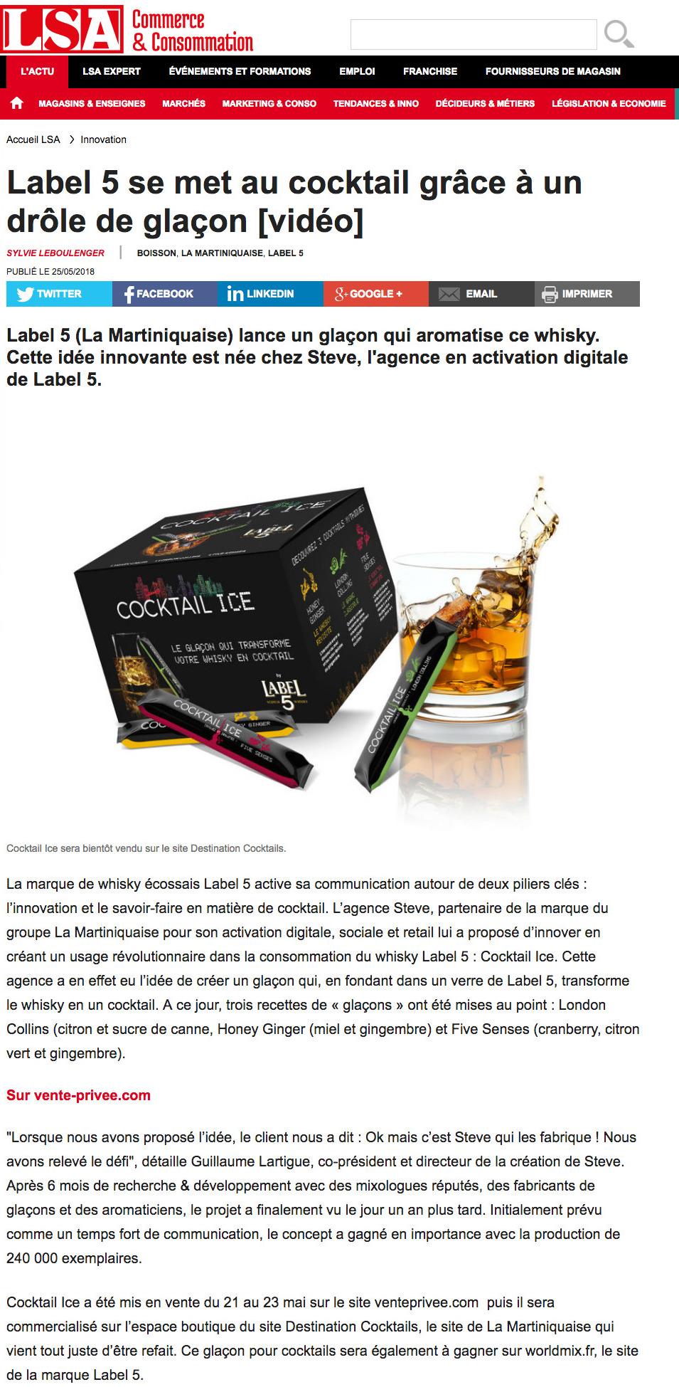 Lsa X Steve Label 5 Se Met Au Cocktail Grace A Un Drole De Glacon Agence Steve